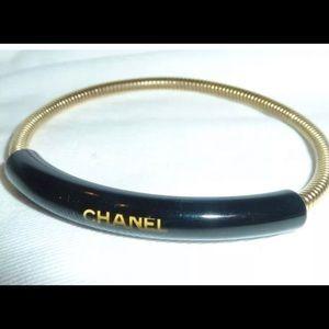 Chanel gold plated Onyx bracelet